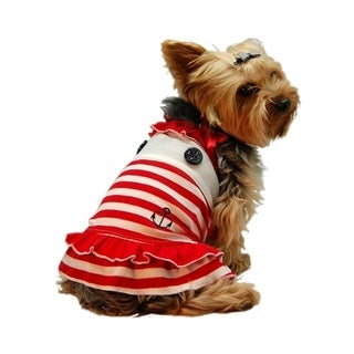 Insten Red & White Stripe Sailor Dog Dress Small Size (As Is Item)