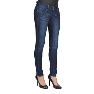 C'est Toi Womens Stud Pocket Dark Wash Skinny Jeans