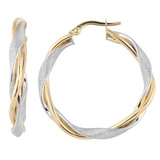 Fremada Italian 14k Two-tone Gold 3.5x25-mm Intertwined Round Hoop Earrings