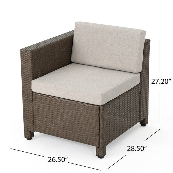 puerta outdoor 6 piece wicker v shaped sectional sofa set by christopher knight home free shipping today overstockcom 19310596