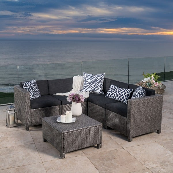 Bon Puerta Outdoor 6 Piece Wicker V Shaped Sectional Sofa Set By Christopher  Knight Home