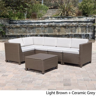 Puerta Outdoor 6-piece Wicker V-Shaped Sectional Sofa Set by Christopher Knight Home (Option: Light Brown Wicker with Ceramic Grey Cushions)