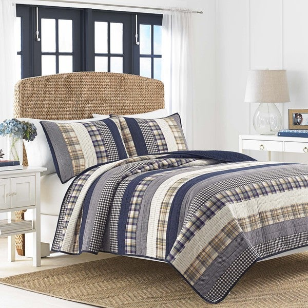 Nautica Rangley Blue and White Cotton Horizontal Patchwork Pieced Quilt