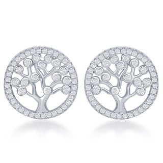 La Preciosa Sterling Silver Cubic Zirconia 'Tree of Life' Circle Stud Earrings