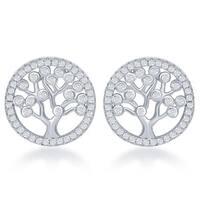 La Preciosa Sterling Silver Cubic Zirconia 'Tree of Life' Circle Stud Earrings
