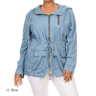 Plus-size Women's Zipper Jacket with Hood (3 options available)