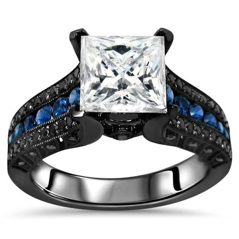 14k Black Gold 2-4/5-carat TGW Princess Moissanite Blue Sapphire Black Diamond Engagement Ring - White