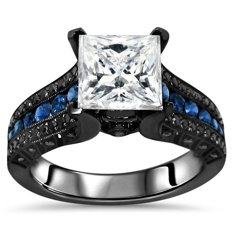 Shop 14k Black Gold 2 4 5 Carat Tgw Princess Moissanite Blue Sapphire Black Diamond Engagement Ring White On Sale Overstock 12502971