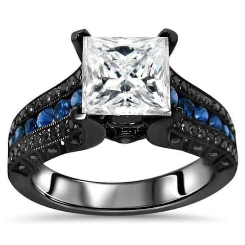 14k Black Gold 2-4/5-carat TGW Princess Moissanite Blue Sapphire Black Diamond Engagement Ring - White