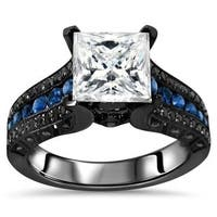 Noori 14k Black Gold 2-4/5-carat TGW Princess Moissanite Blue Sapphire Black Diamond Engagement Ring - White
