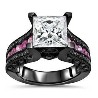 Noori 14k Black Gold 2 4/5-carat TGW Princess Moissanite Pink Sapphire Black Diamond Engagement Ring - White