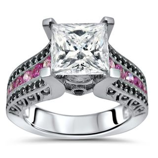 Noori 14k White Gold 2-4/5-carat TGW Princess Moissanite Pink Sapphire Black Diamond Engagement Ring