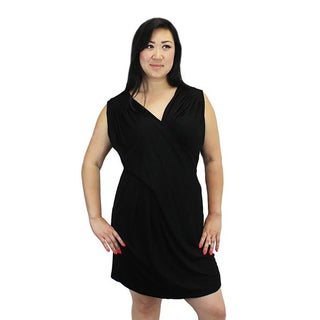Relished Women's Black Polyester/Rayon Ruched Crossover Jersey Dress