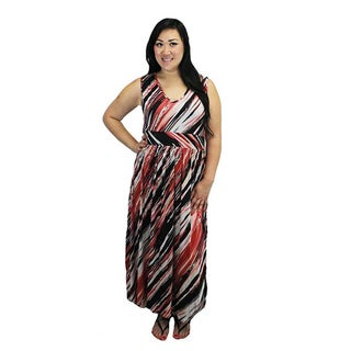 Relished Women's Coral Multi-print Jersey Maxi Dress