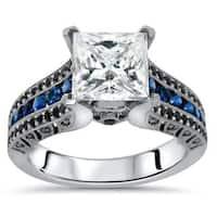 Noori 14k White Gold 2 4/5ct TGW Princess Black Diamond and Moissanite Blue Sapphire Engagement Ring