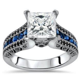 Noori 14k White Gold 2 4/5ct TGW Princess Black Diamond and Moissanite Blue Sapphire Engagement Ring