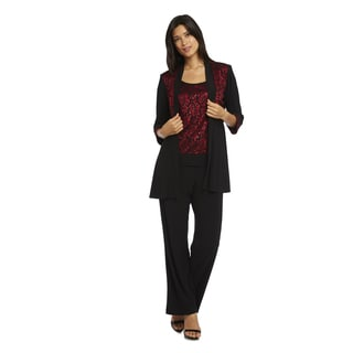 R&M Richards Women's Red/Black Polyester/Spandex Jacket Pant Set