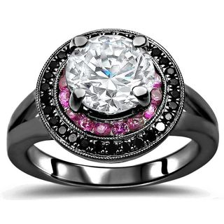 Noori 14k Black Gold 1 1/2-carat TGW Round Moissanite, Pink Sapphire, Black Diamond Engagement Ring