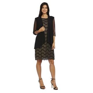 R&M Richards Women's Black/Gold Jacket Dress