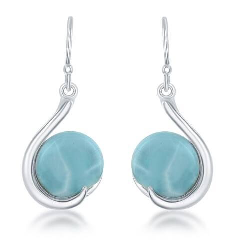 La Preciosa Women's Blue/Sterling Silver Curved Larimar Earrings