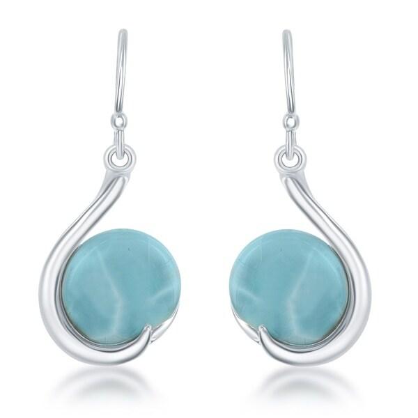 La Preciosa Women X27 S Blue Sterling Silver Curved Larimar Earrings