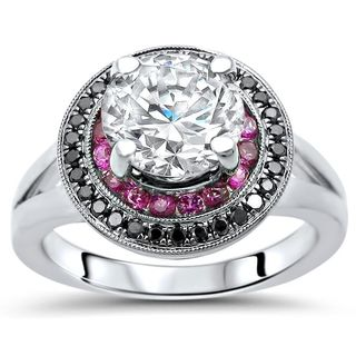 Noori 14K White Gold Moissanite Pink Sapphire and Black Diamond Engagement Ring