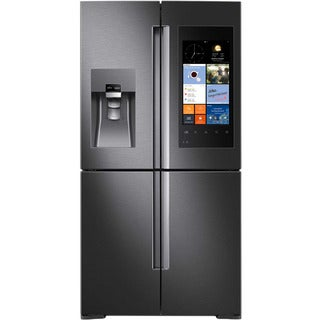 Samsung Black Stainless Steel 28-cubic-foot 4-door Refrigerator with Family Hub