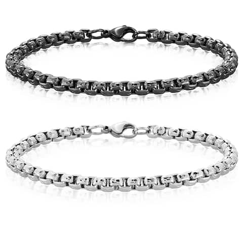 Crucible Stainless Steel Textured Box Chain Bracelet (5mm)