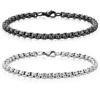 Men's Stainless Steel Textured Box Chain Bracelet - 8.5 inches (5mm Wide)