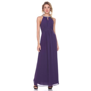 Stanzino Women's Purple Polyester Sleeveless Long Gown