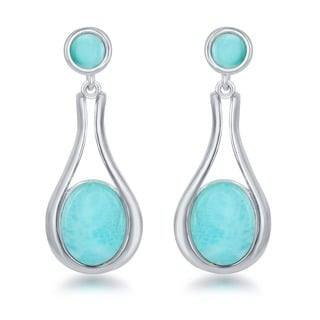 La Preciosa Sterling Silver Oval Larimar Dangle Earrings