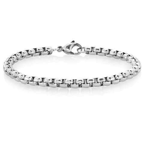 Crucible Polished Stainless Steel Box Chain Bracelet (5mm Wide)