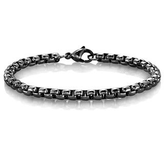 Men's High Polished Stainless Steel Box Chain Bracelet - 8.5 inches (5mm Wide)