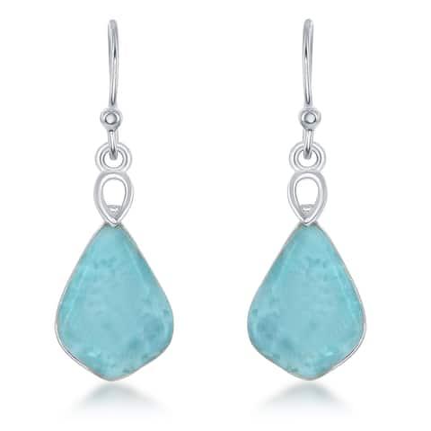 La Preciosa Sterling Silver Larimar Teardrop Dangle Earrings