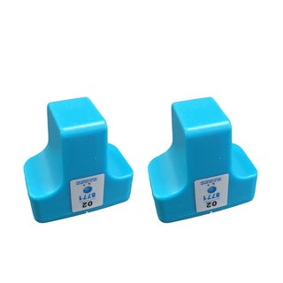 Cyan Toner Ink Replacement Cartridge 2-pack for HP 02