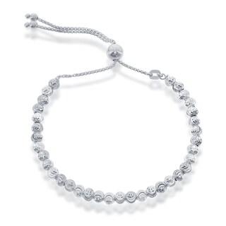 Link to La Preciosa Sterling Silver Diamond-cut Moonbeads Adjustable Italian Bolo Bracelet Similar Items in Bracelets