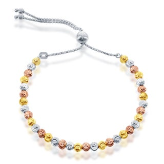 La Preciosa Sterling Silver Diamond-cut Moonbeads Adjustable Italian Bolo Bracelet