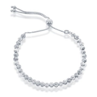 La Preciosa Sterling Silver Diamond-cut Moonbeads Adjustable Italian Bolo Bracelet