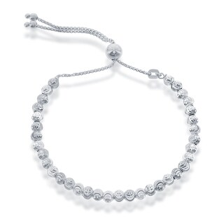 La Preciosa Sterling Silver Diamond-cut Moonbeads Adjustable Italian Bolo Bracelet (2 options available)