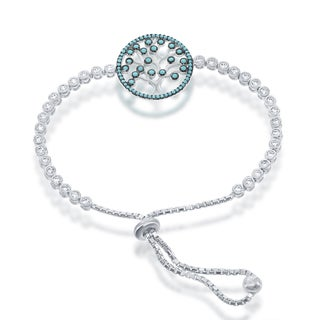 La Preciosa Sterling Silver and Cubic Zirconia 'Tree of Life' Disc Adjustable Bolo Bracelet