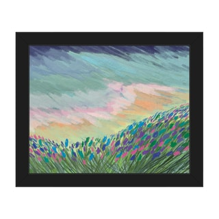 Indigo Impasto Field Framed Canvas Wall Art