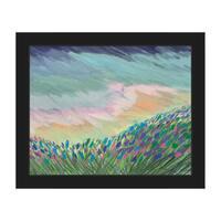 Indigo Impasto Field Framed Canvas Wall Art