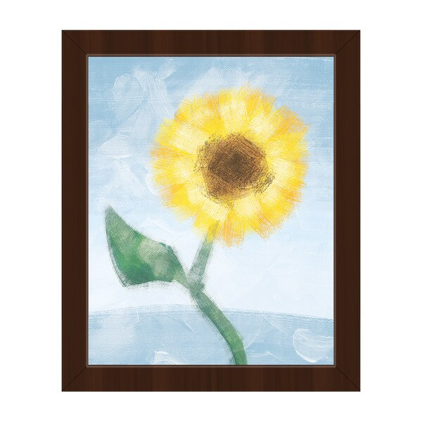 Sunflower on Blue Espresso-finish Frame Rectangular Handcrafted Canvas Wall Art