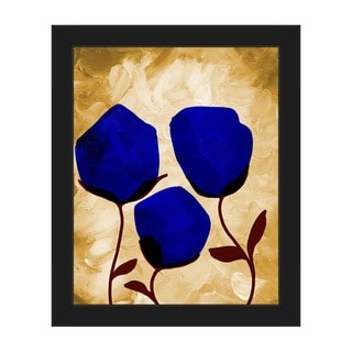 Blooming Blue Black-finish Frame Rectangular Handcrafted Canvas Wall Art