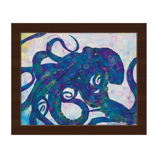 Shop \'Indigo Octopus\' Espresso Plastic Framed Canvas Wall Art - On ...
