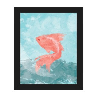 Goldfish Blue Framed Multicolored Canvas Wall Art