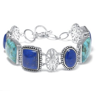 Silver Sterling, Enhanced Turquoise, and Dyed Lapis Bracelet