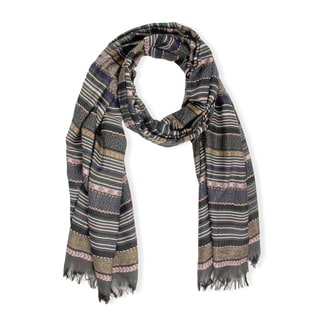 Handmade Saachi Multi Striped Black Peach Scarf (China)