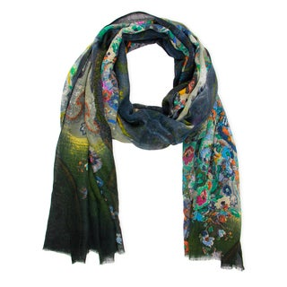 Saachi Women's Floral Colorburst Wool Silk Blend Scarf (India)