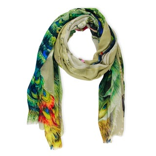 Saachi Women's Oversized Peacock Garden Modal Scarf (India)